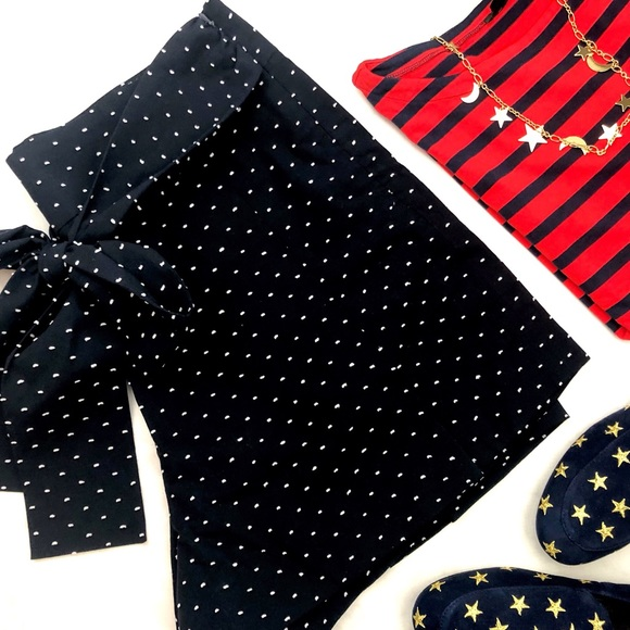 J. Crew Pants - J. Crew Navy Tie Waist Textured Dot Shorts